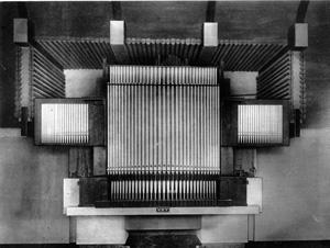 Het van Oeckelen-orgel zoals het in Groningen in de Parklaankerk stond opgesteld