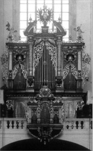 Johann Heinrich Mundt and the organ in the Church of the Virgin Mary before the Tyn at Prague by Peter van Dijk