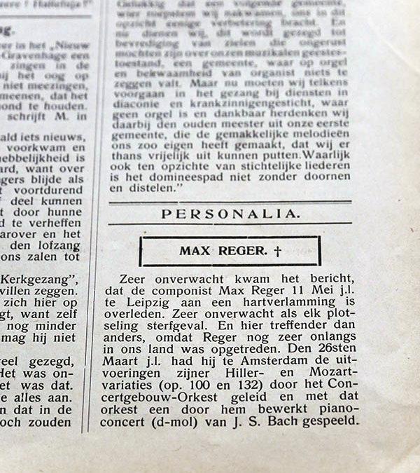 Reger in Het Orgel. Een bijdrage aan de receptiegeschiedenis van Max Reger in Nederland.