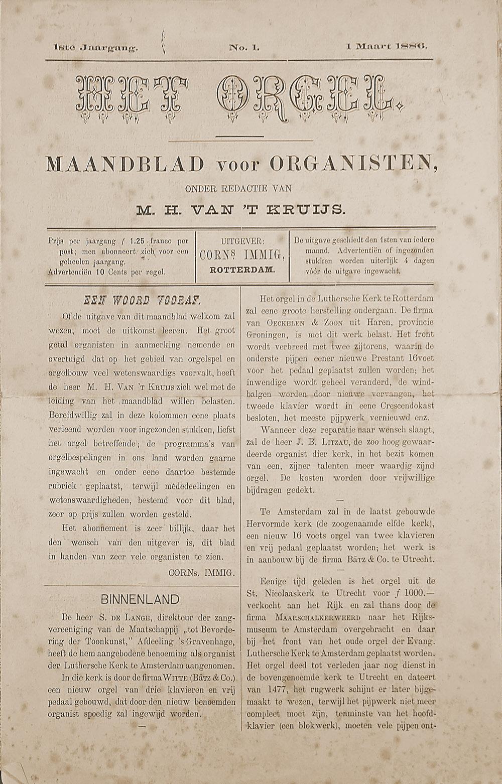 afbeelding Het Orgel nr. 01-1886