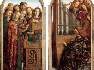 'Lavdant evm in cordis et organo'.  The positive on 'De aanbidding van het Lam Gods' {the adoration of the lamb of god} by Hubert and Jan van Eyck