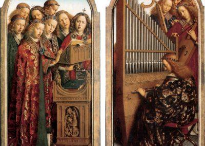 'Lavdant evm in cordis et organo'. Het positief op De aanbidding van het Lam Gods van Hubert en Jan van Eyck